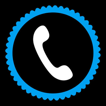 Phone round stamp icon. This flat vector symbol is drawn with blue and white colors on a black background.