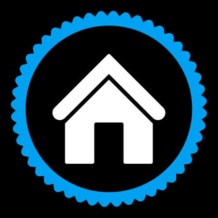 birthplace: Home round stamp icon. This flat vector symbol is drawn with blue and white colors on a black background.