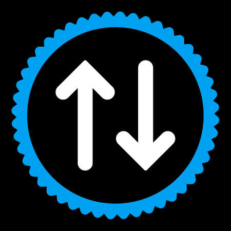 inverse: Flip round stamp icon. This flat vector symbol is drawn with blue and white colors on a black background.