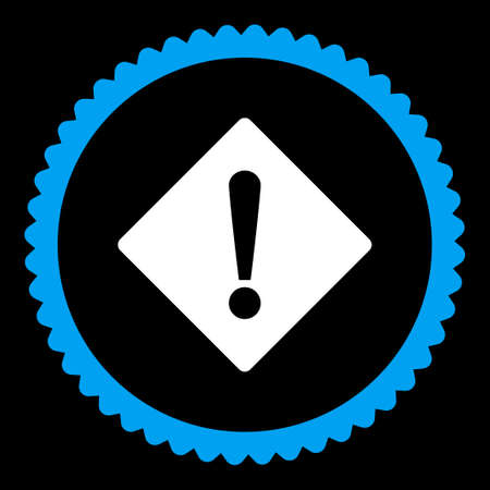 exclaim: Error round stamp icon. This flat vector symbol is drawn with blue and white colors on a black background.