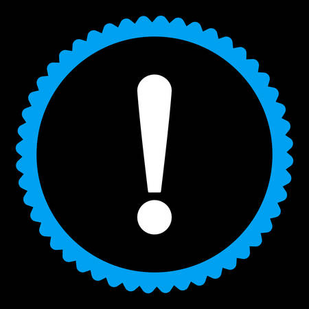 exclaim: Exclamation Sign round stamp icon. This flat vector symbol is drawn with blue and white colors on a black background.