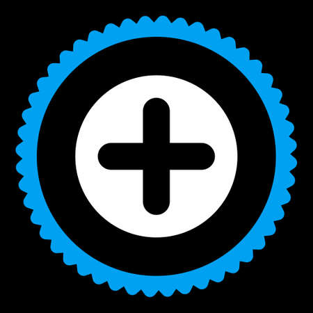 make summary: Create round stamp icon. This flat vector symbol is drawn with blue and white colors on a black background.