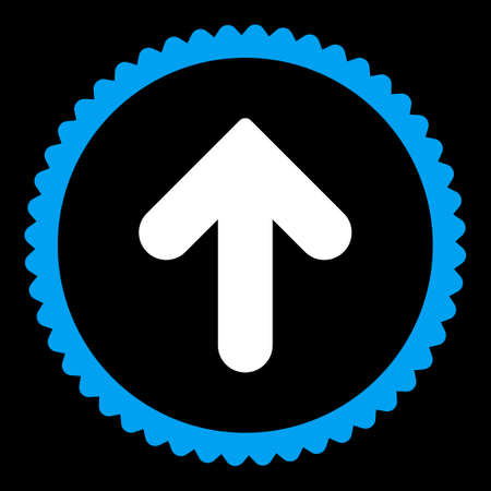 upward movements: Arrow Up round stamp icon. This flat vector symbol is drawn with blue and white colors on a black background.