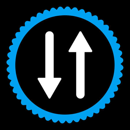 inverse: Arrows Exchange Vertical round stamp icon. This flat vector symbol is drawn with blue and white colors on a black background.