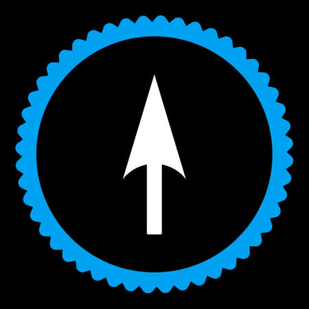 y axis: Arrow Axis Y round stamp icon. This flat vector symbol is drawn with blue and white colors on a black background.