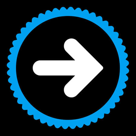 redirect: Arrow Right round stamp icon. This flat vector symbol is drawn with blue and white colors on a black background. Illustration