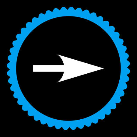 x axis: Arrow Axis X round stamp icon. This flat vector symbol is drawn with blue and white colors on a black background.