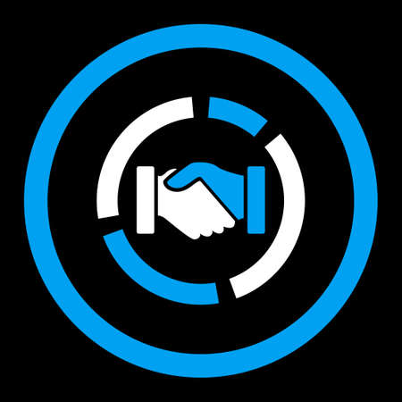 acquisition: Acquisition diagram glyph icon. This rounded flat symbol is drawn with blue and white colors on a black background.