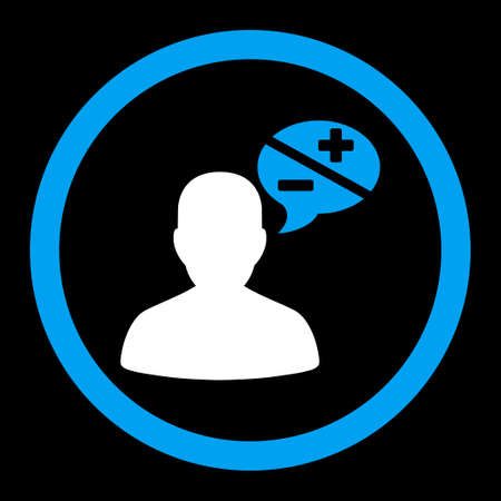 arguments: Arguments glyph icon. This rounded flat symbol is drawn with blue and white colors on a black background.