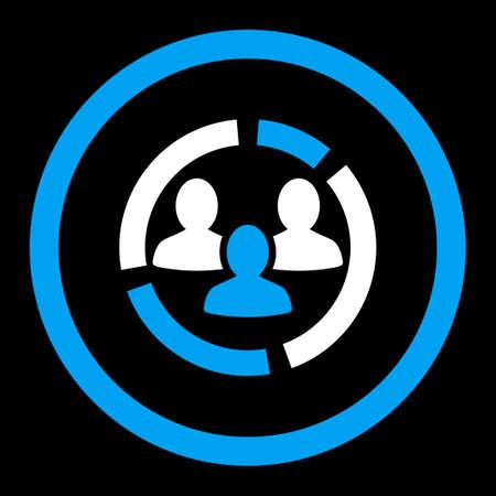 demografia: Demografía icono diagrama glifo. Este símbolo plana redondeada se dibuja con los colores azul y blanco sobre un fondo negro.