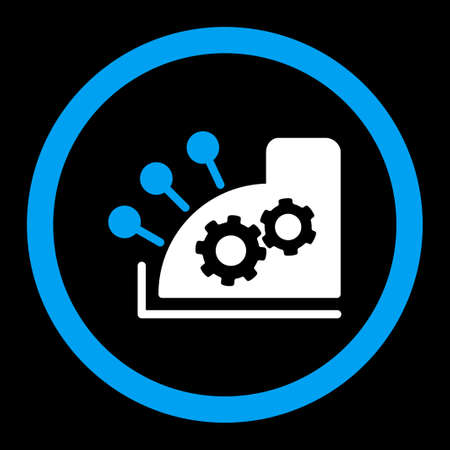 calc: Cash register vector icon. This rounded flat symbol is drawn with blue and white colors on a black background. Illustration