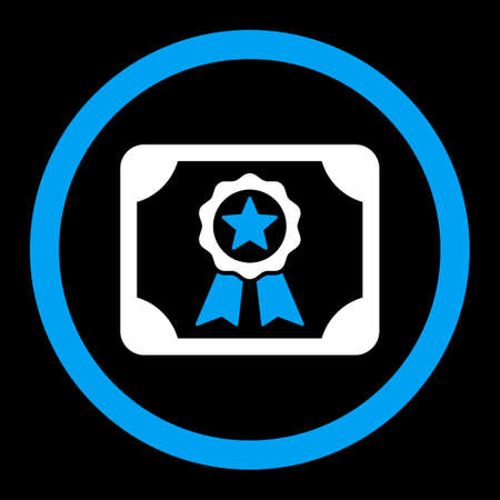 attest: Certificate vector icon. This rounded flat symbol is drawn with blue and white colors on a black background.
