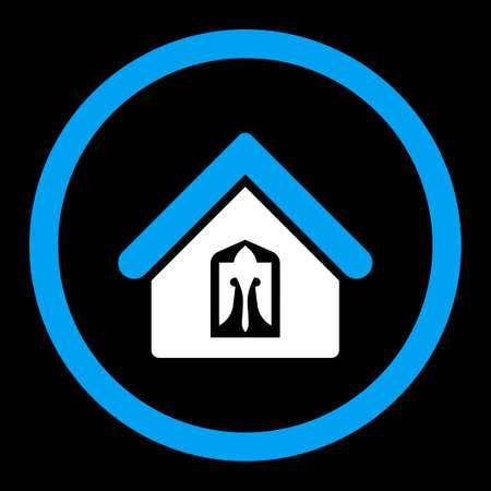 birthplace: Home vector icon. This rounded flat symbol is drawn with blue and white colors on a black background.