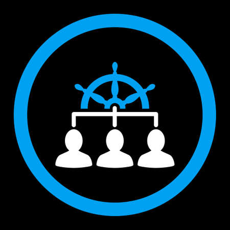 govern: Management vector icon. This rounded flat symbol is drawn with blue and white colors on a black background.