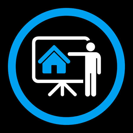 realtor: Realtor vector icon. This rounded flat symbol is drawn with blue and white colors on a black background. Illustration