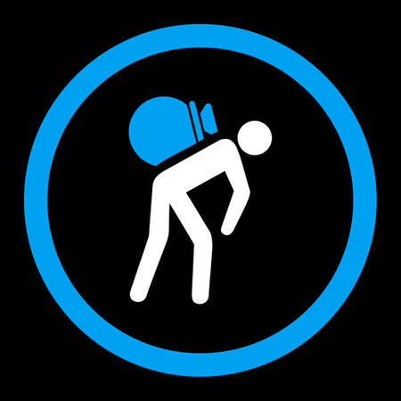 porter: Porter vector icon. This rounded flat symbol is drawn with blue and white colors on a black background.