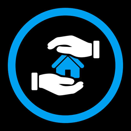 housing project: Realty insurance vector icon. This rounded flat symbol is drawn with blue and white colors on a black background. Illustration