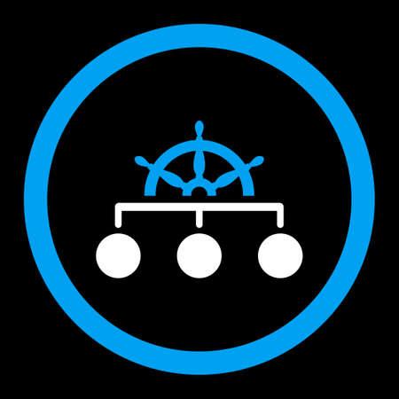 Regel vector icon. Deze afgeronde flat symbool wordt getekend met blauwe en witte kleuren op een zwarte achtergrond.