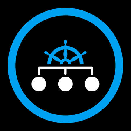 rule: Rule vector icon. This rounded flat symbol is drawn with blue and white colors on a black background. Illustration