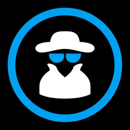 Spy vector icon. This rounded flat symbol is drawn with blue and white colors on a black background.
