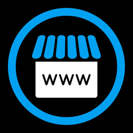 alibaba: Webstore vector icon. This rounded flat symbol is drawn with blue and white colors on a black background.