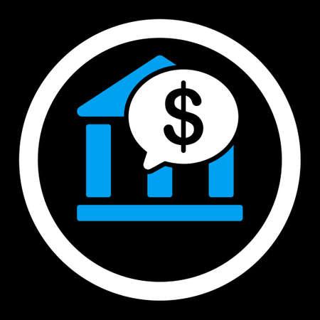 bank overschrijving: Bank Transfer raster icoon. Deze platte afgeronde symbool maakt gebruik van blauwe en witte kleuren en geïsoleerd op een zwarte achtergrond.