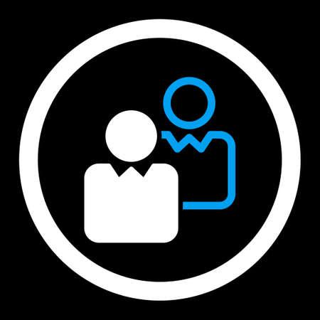 director de escuela: Clientes Raster icono. Este s�mbolo redondeada plana utiliza los colores azul y blanco y aislado en un fondo negro.
