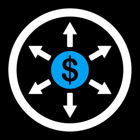 distribute: Cashout raster icon. This flat rounded symbol uses blue and white colors and isolated on a black background.
