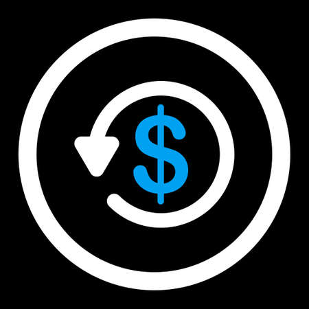 restitution: Refund raster icon. This flat rounded symbol uses blue and white colors and isolated on a black background.