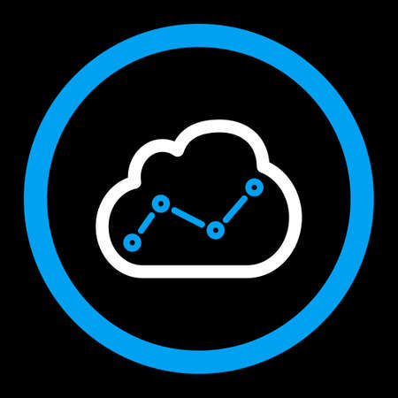 saas: Analytics vector icon. This flat rounded symbol uses blue and white colors and isolated on a black background.