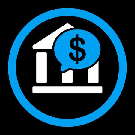 bank overschrijving: Bank Transfer vector icon. Deze platte afgeronde symbool maakt gebruik van blauwe en witte kleuren en geïsoleerd op een zwarte achtergrond. Stock Illustratie