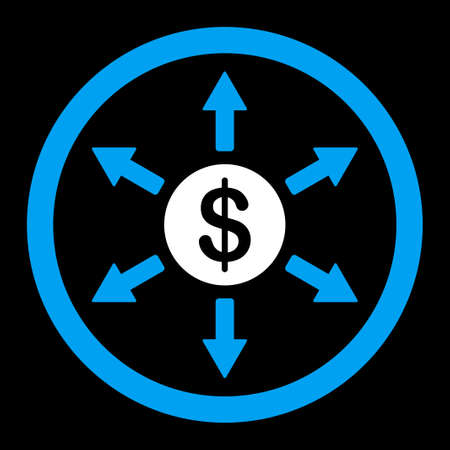 bank branch: Cashout vector icon. This flat rounded symbol uses blue and white colors and isolated on a black background.