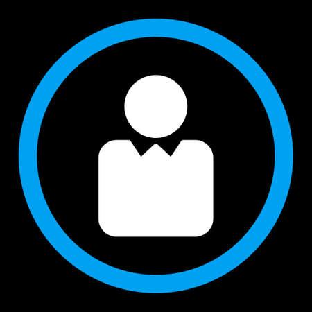 director de escuela: Vector icon Cliente. Este símbolo redondeada plana utiliza los colores azul y blanco y aislado en un fondo negro.