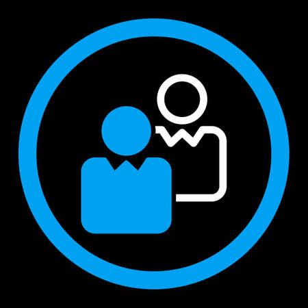 director de escuela: Clientes del icono del vector. Este símbolo redondeada plana utiliza los colores azul y blanco y aislado en un fondo negro. Vectores