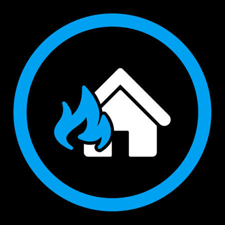 fire damage: Fire Damage vector icon. This flat rounded symbol uses blue and white colors and isolated on a black background.