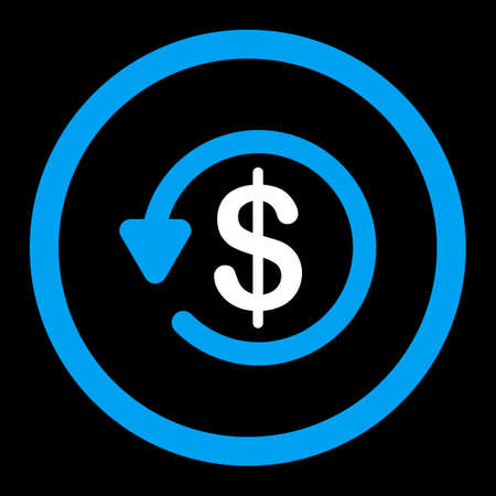 refunds: Refund vector icon. This flat rounded symbol uses blue and white colors and isolated on a black background. Illustration