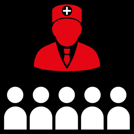 lecture hall: Doctor Class glyph icon. Style is bicolor flat symbol, red and white colors, rounded angles, black background.
