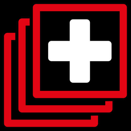 docs: Medical Docs glyph icon. Style is bicolor flat symbol, red and white colors, rounded angles, black background.