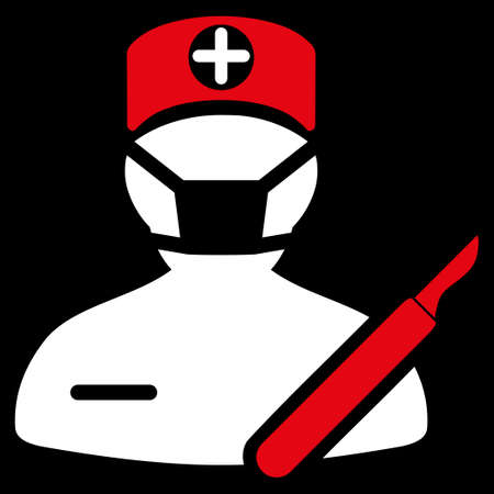 executor: Surgeon glyph icon. Style is bicolor flat symbol, red and white colors, rounded angles, black background.