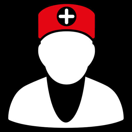 orderly: Doctor glyph icon. Style is bicolor flat symbol, red and white colors, rounded angles, black background.