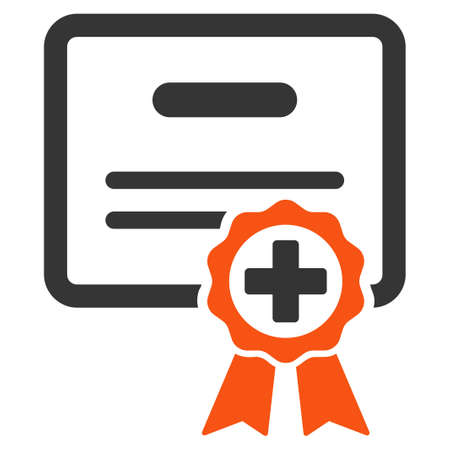 assertion: Certification glyph icon. Style is bicolor flat symbol, orange and gray colors, rounded angles, white background.