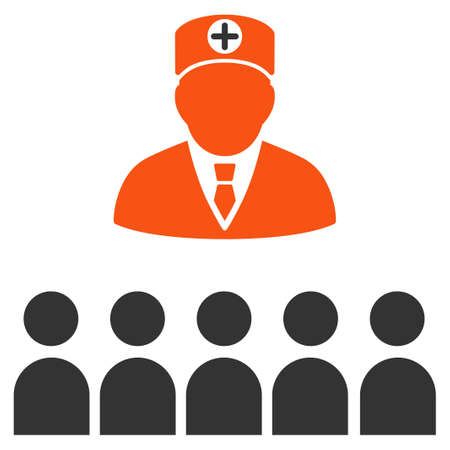 lecture hall: Doctor Class glyph icon. Style is bicolor flat symbol, orange and gray colors, rounded angles, white background.