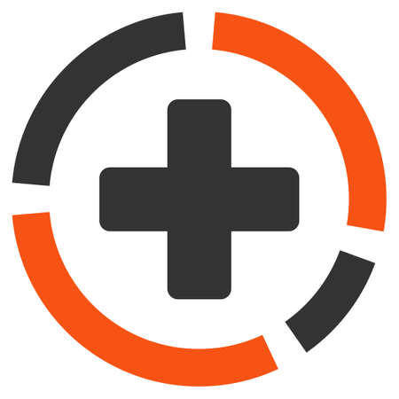 health care analytics: Health Care Diagram glyph icon. Style is bicolor flat symbol, orange and gray colors, rounded angles, white background. Stock Photo