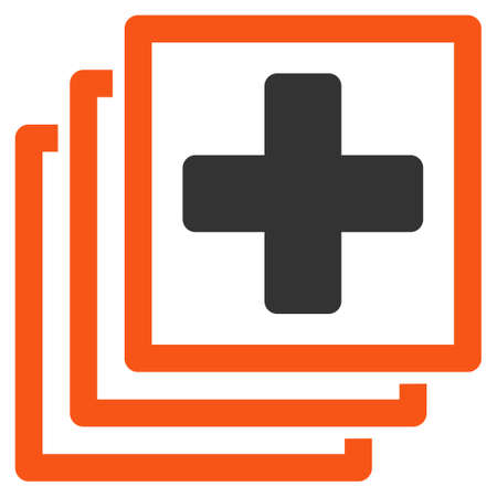 docs: Medical Docs glyph icon. Style is bicolor flat symbol, orange and gray colors, rounded angles, white background.