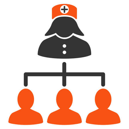 patients: Nurse Patients glyph icon. Style is bicolor flat symbol, orange and gray colors, rounded angles, white background. Stock Photo