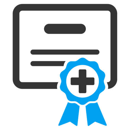 attest: Certification vector icon. Style is bicolor flat symbol, blue and gray colors, rounded angles, white background.