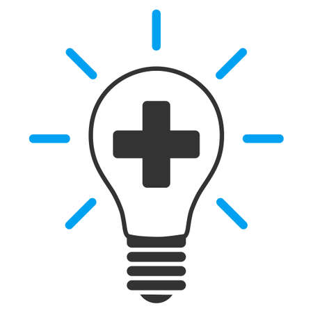 gray bulb: Creative Medicine Bulb vector icon. Style is bicolor flat symbol, blue and gray colors, rounded angles, white background.