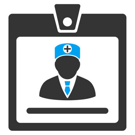 access card: Doctor Badge vector icon. Style is bicolor flat symbol, blue and gray colors, rounded angles, white background.