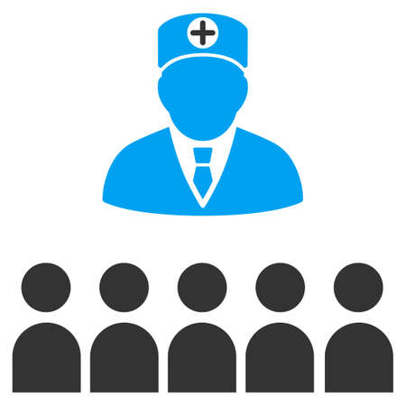 lecture hall: Doctor Class vector icon. Style is bicolor flat symbol, blue and gray colors, rounded angles, white background.