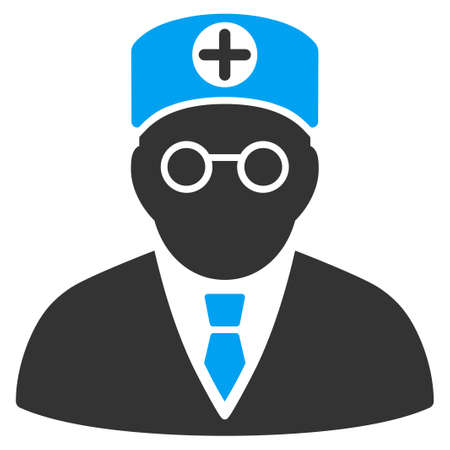 physician: Head Physician vector icon. Style is bicolor flat symbol, blue and gray colors, rounded angles, white background. Illustration